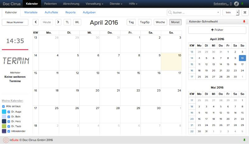 Arztpraxis Kalender Termine Aufgaben